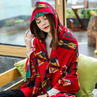 2019   Women's Aztec Shawl Hoodie Tassels Cape Knitted Hooded Coat Poncho Scarf