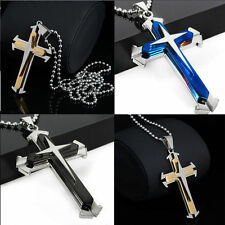Blue Hot Gift Unisex's Men Silver Stainless Steel Cross Pendant Necklace Chain