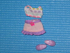 Outfit for Kelly Shelley Barbie doll purple skirt floral cropped top shoes