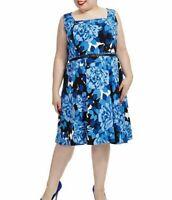 London Times Crepe De Chine Rose Cluster A Line Dress In Blue Size 10 - No Belt