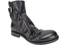 Raparo Men's Canguro Nero Washed Buckle Boots Black Wrinkled Leather Size 10 M