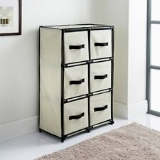 Stylish Canvas 6 Drawer Unit Beige With a Strong Plastic Frame With Metal Tubing