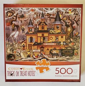 Buffalo Charles Wysocki Trick or Treat Hotel Halloween 500 Piece Puzzle Complete