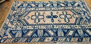 Bohemian Antique Cr1930-1939s Natural Dye Wool Pile Oushak Area Rug 4x6ft