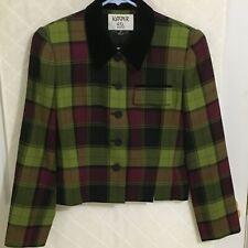 Kasper ASL Jacket Size 4P Maroon Green Black Velour Collared Blazer