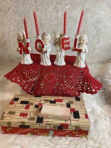 VINTAGE RELCO NOEL ANGELS CANDLES SET ORIG BOX Bin Z5