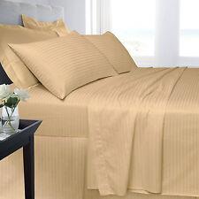 Letto MATRIMONIALE 250 Thread Count Lenzuolo Color Crema / Beige Hotel Cotone Egiziano