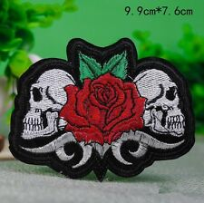 """High Quality Biker Rose skulls Iron on THICK Embroidered Patch (3.0"""" X 4.0"""")"""