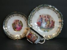 Beyer Bock Royal Rudolstadt Prussia Neoclassical Trio Cup Saucer Plate Set Rare!