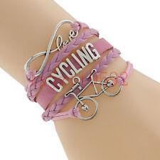 Infinity Love Cycling Bracelet With Bike Charm Leather Bracelet-Bicycle Sports#3