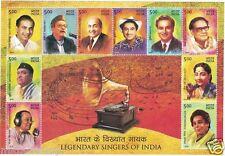 PMS143 INDIA 2016 LEGENDARY SINGERS MUKESH RAFI MANNA DEY KISHORE MINIATURE MNH