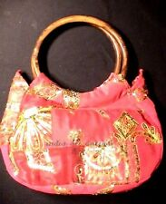 SARI BAG GLITTER RED VINTAGE BEADS EMBROIDERY FABRIC INDIA ANTIQUE WOOD HANDLE