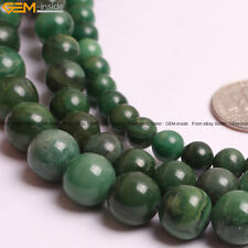 Round Natural Africa Jade Jadeite Stone Loose Beads For Jewelry Making 15""