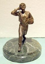 NEWS PAPER SELLER OLD BRONZE ON MARBLE BASE HEIGHT =10 7/8""