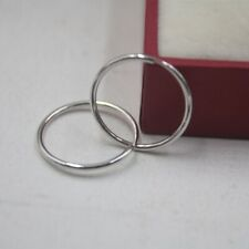 New Solid Platinum 950 Hoop Earrings Smooth Round 17mm Hoop Earrings