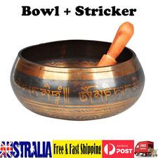 Buddhism Tibetan Meditation Yoga Singing Bowl+Wood Striker Set Brown Bowl