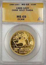 1989 China 100Y Yuan Gold Panda Coin ANACS MS-69 DCAM *Nearly Perfect Gem* SB