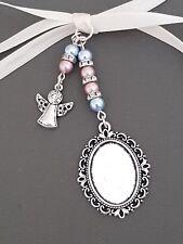 "Pretty Wedding Bouquet Photo Charm Oval Silver Bouquet Locket & ""angel"" charm"