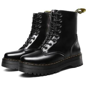 Women's Shoes Doc Style Leather Platform Motorcycle Jadon Boots BLACK