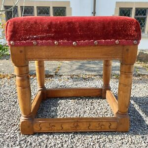 A Lovely Vintage Hand Made Bespoke Solid Oak Footstool with Overstuffed Top Seat