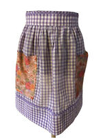 Purple White Apron Checker Gingham Floral Handmade Cross Stitch 2 Pocket Vintage