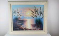 26x29 Canvas Original Brush Stroke Wall Painting L. Cummings Sunset Ocean Beach