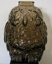 """VINTAGE 1950s>1960s LIBBEY """"WISE OLD OWL"""" SMOKY TOPAZ GLASS COIN BANK"""