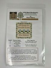 Little House Needleworks Cross Stitch Kit BELIEVE Chart & Threads