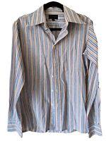 Vintage Yves Saint Laurent Multicolor Striped Menswear Dress Shirt 15 34-35