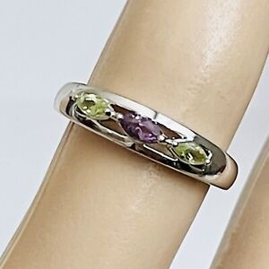 Ross Simons Sterling Silver Marquise Peridot Amethyst Minimalist Ring - Size 7