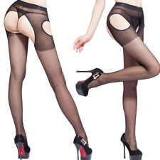 Lingerie Crotchless Tights Seamless Sheer Pantyhose Open Crotch Stockings