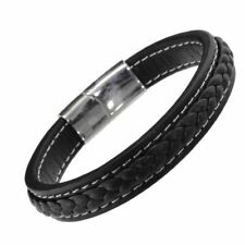 Stainless Steel Collection: Chunky Black Leather Bracelet with Woven Central ...