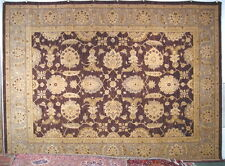 Peshawar rug hand knotted wool new from Pakistan chocolate Oushak 9x12 #85525