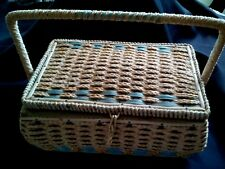 Sewing Basket Craft Box Wicker Swing Handle Blue Tufted Lining w Tray Vintage
