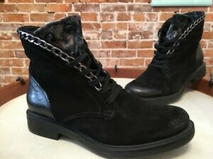 Miz Mooz NYC Black Suede & Velvet Chain Lace up Chelsea Ankle Boots 38 7.5-8 NEW