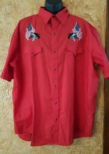 High Noon Short Sleeve Pearl Snap Western Shirt 3XL Red American Flag Horse