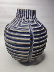 """West Elm Ceramic Vase Blue 6""""x6"""""""
