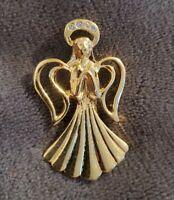 Vintage Goldtone Diamante Angel Brooch Pin