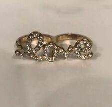 "Yellow Gold & Rhinestone Pavé ""love"" 2 Finger Ring - Size 7"