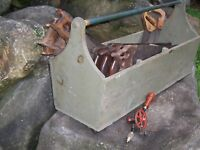 Antique Carpenter Woodworking Hand Saw Tool Caddy Lot Disston Primitive Decor