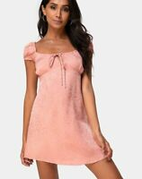 MOTEL ROCKS Gaval Mini Dress in Satin Cheetah Dusty Pink XS (mr36)