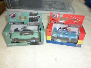 Pair of M2 1:64th 1960 Chrysler 300F & 1958 Plymouth Belvedere Diecast Cars