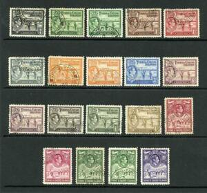 Turks and Caicos Is SG194/205 1938 KGVI Set inc Shades Cat 115+ pounds