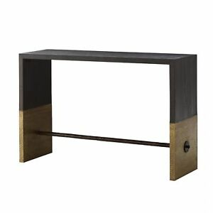 """52"""" Long Console Table Contemporary Black Gold Sable Antique Brass Finish Solid"""