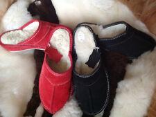 Lady Women Sheepskin Suede Leather Slippers Wool Shoes Size3 4 5 6 7 8Black Flop