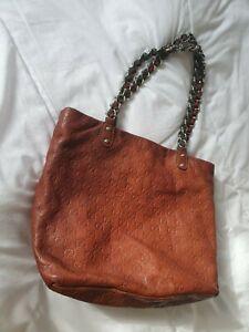 Vintage Gucci Y2K Large Tote Handbag purse GG Brown leather bag chain green web