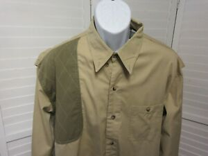GTM Sportswear Vented Quilted Shoulder Rifle Shooting Hunting Green Tan Shirt XL