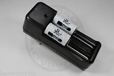 """2 PILES ACCUS RECHARGEABLE CR123A 16340 3.7V 2200mAh + CHARGEUR """" RAPIDE """""""