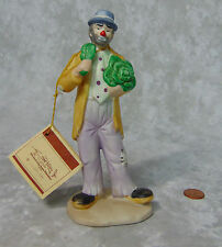 """New Emmet Kelly Clown Eating Cabbage Leaf 6.5"""" Porcelain Figurine by Flambro Nwt"""