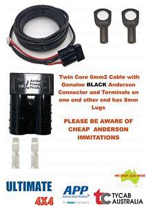 6m Twin Core 6mm2 Cable Genuine Blk Anderson 8mm Lug Caravan, Camping, Fridge